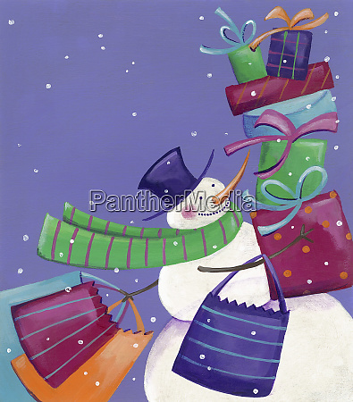 snowman carrying lots of presents