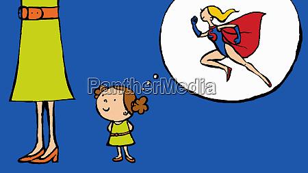 girl imagining woman as superhero
