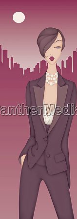 beautiful elegant woman wearing trouser suit