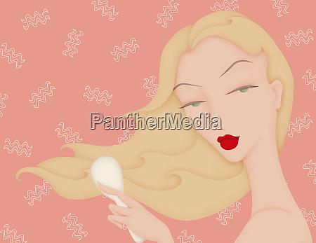 beautiful woman brushing flowing wavy hair