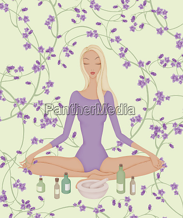 woman sitting in lotus position with