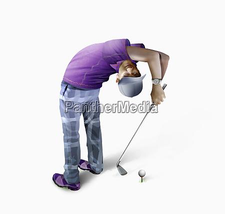golfer bending over backwards teeing off