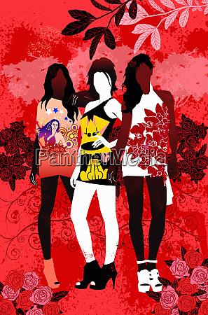 fashionable teenage girls wearing t shirts