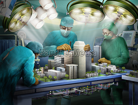 doctors operating on urban architecture