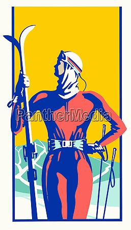 retro woman holding skis