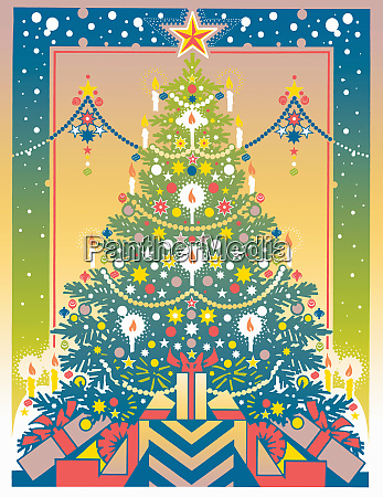 symmetrical christmas tree and gifts