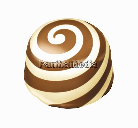 chocolate truffle with white chocolate swirl