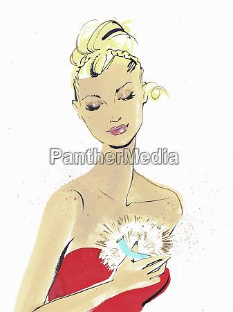 beautiful woman applying dusting powder