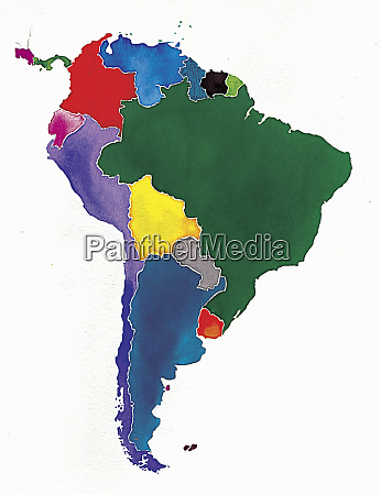 watercolor map of south america