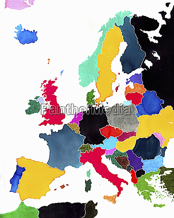 watercolor map of europe