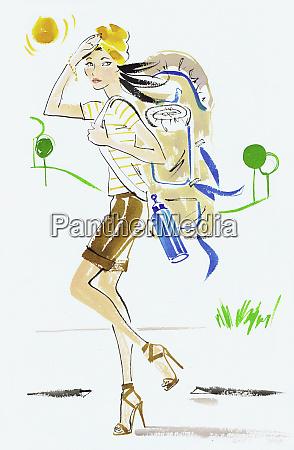 fashion victim hiking with rucksack in