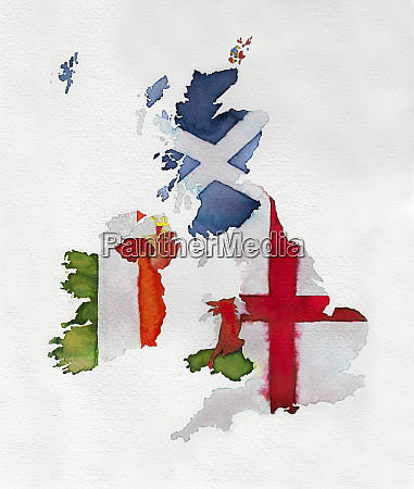 watercolor flag map of united kingdom