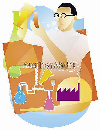 industrial chemist doing science experiment