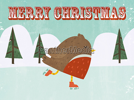 cute merry christmas robin ice skating