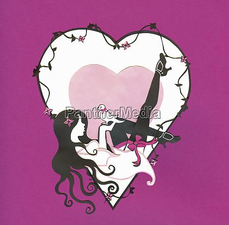 seductive woman reclining inside of heart