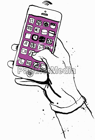 hand holding smart phone with lots