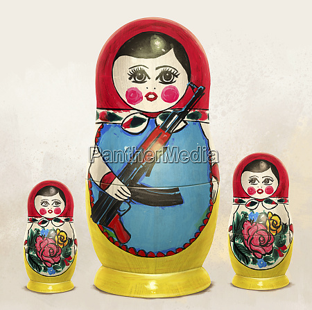 russian nesting dolls nervously watching large