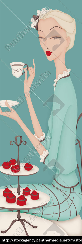 beautiful, elegant, woman, having, afternoon, tea - 26019022