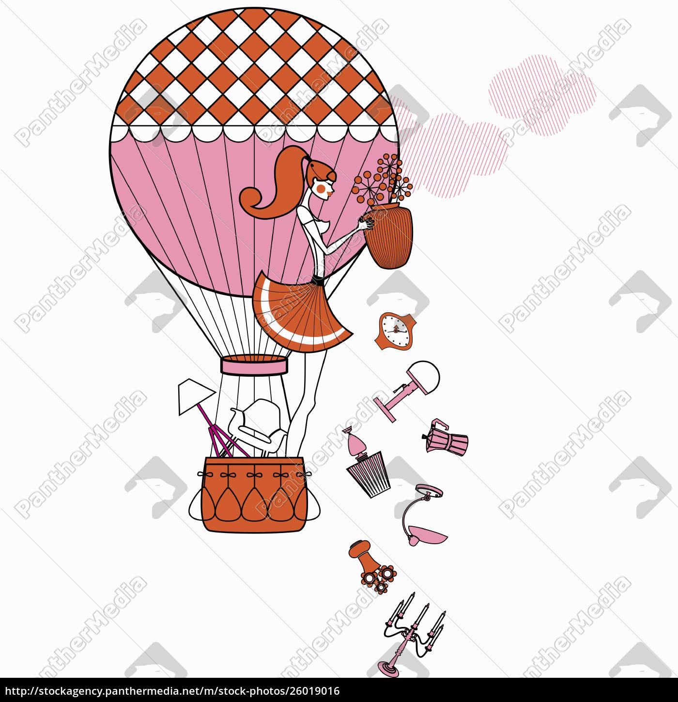 fashionable, woman, in, hot, air, balloon - 26019016