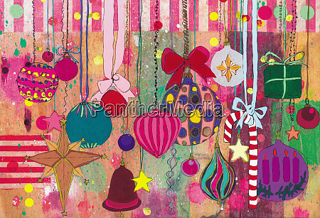 lots of christmas decorations hanging on