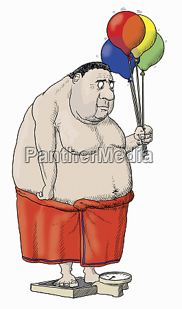 overweight man standing on bathroom scales