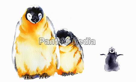 portrait of penguin family