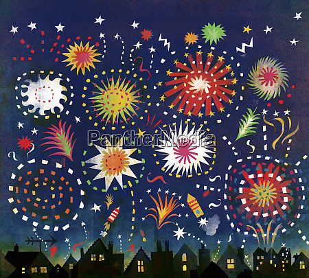 multicolored fireworks in night sky above