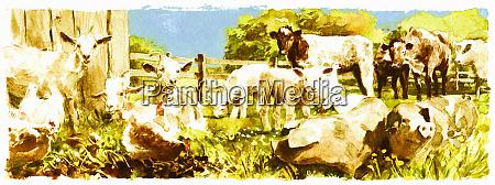 watercolor painting of various farmyard animals