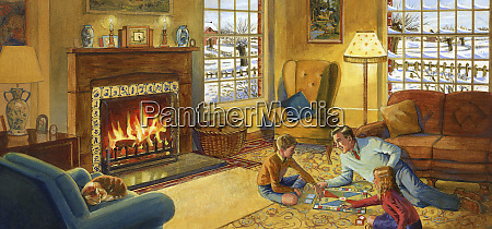father playing board game with children