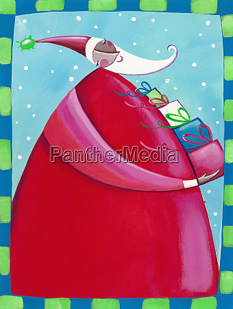 santa claus carrying pile of christmas