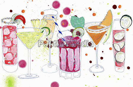 row of various summer cocktails