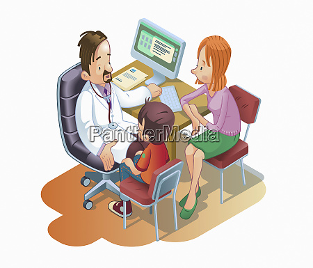 doctor talking to young boy and