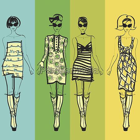 four elegant fashion models side by