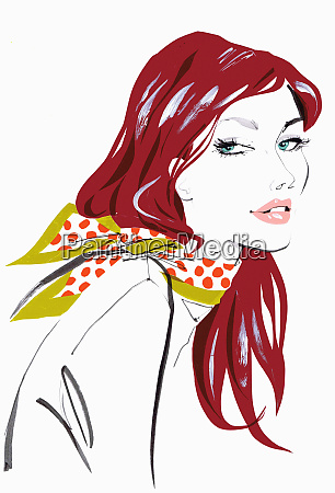 close up beautiful woman wearing polka