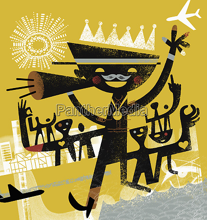 cheerful pilot wearing crown and gold