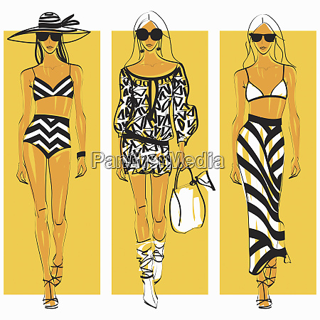 three fashion models side by side