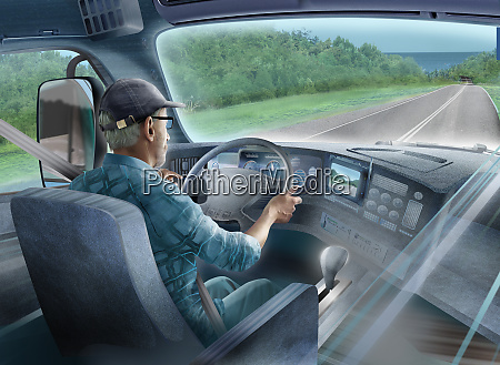 lorry driver with sat nav on