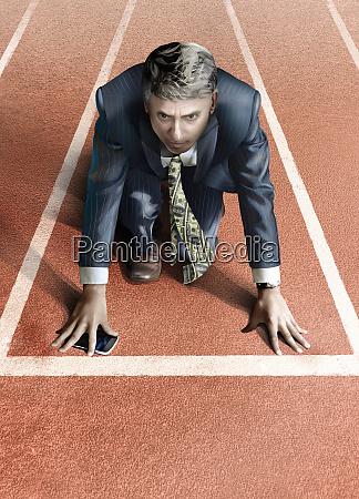 businessman with money tie on starting