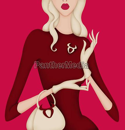 glamorous woman wearing brooch and purse