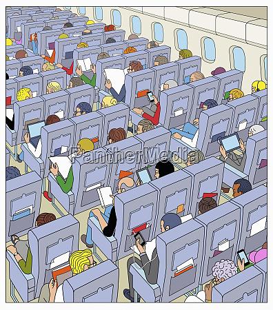 lots of passengers on airplane flight