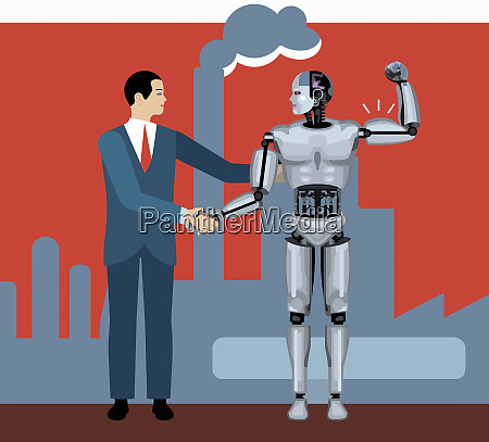 businessman shaking hands with robot flexing