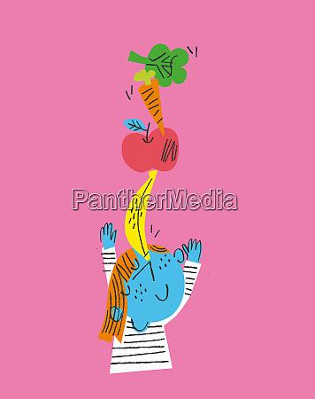 happy child balancing fresh fruit and