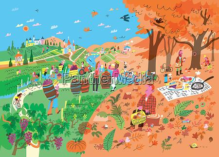 people enjoying autumn vacation in wine