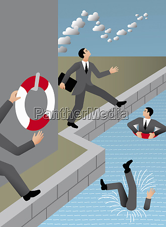 businessmen with head in the clouds