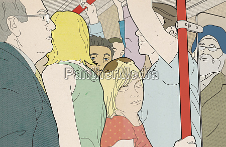 woman squashed in overcrowded tube train
