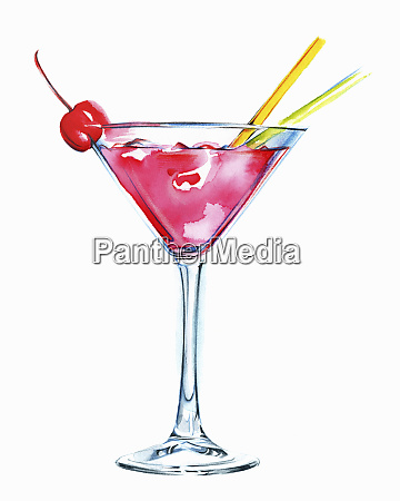 pink cocktail in martini glass with