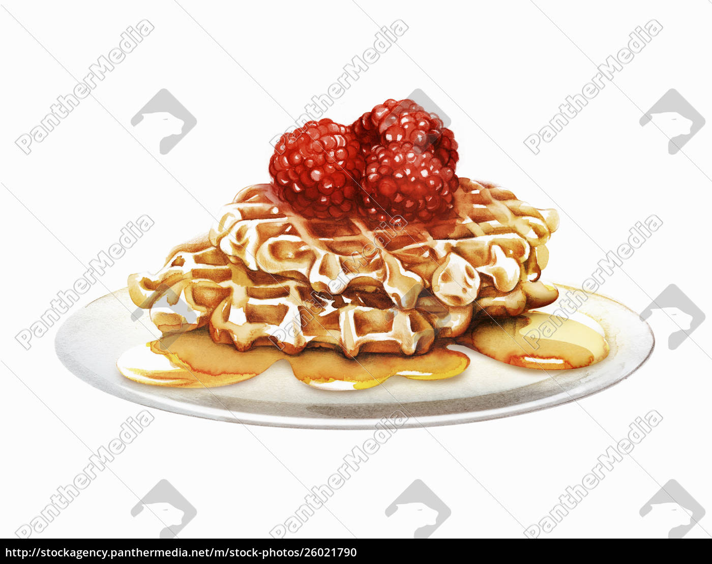 raspberry, waffles, oozing, with, honey - 26021790