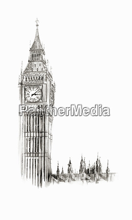 watercolor, painting, of, big, ben, , london - 26021784