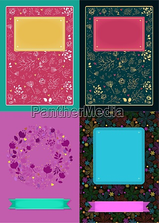 floral romantic cards with banners for
