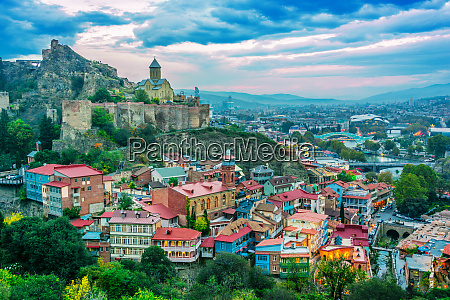 panoramic view of tbilisi georgia after